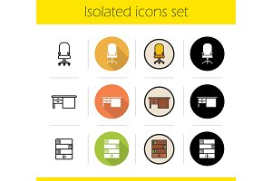 Furniture. 12 icons set. Vector