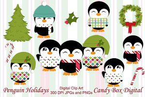 Christmas Holiday Penguin Clip Art