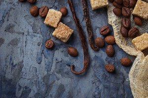 Brown sugar,coffee beans and vanilla