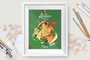 Set. Italian pasta posters