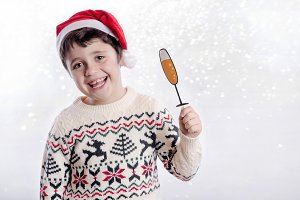 Child celebrating christmas