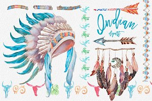 Watercolor Indian Clipart Set