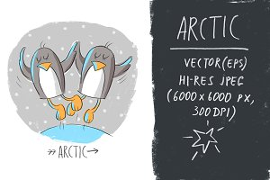 Illustration with penguins