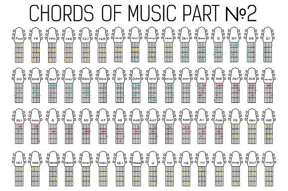 Classic guitar music chords vector ~ Illustrations ~ Creative Market