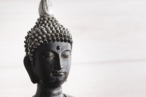 Close-up of a black and gray buddha on a white background