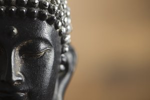 Close-up of the face of a buddha figure