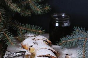 Strudel with cherry, festive dessert