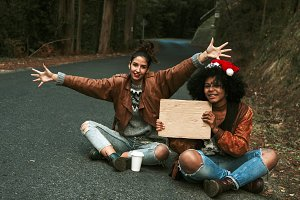 friendly hitchhiked with christmas cap