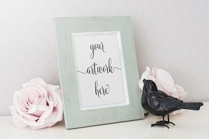 Romantic photo frame mockup