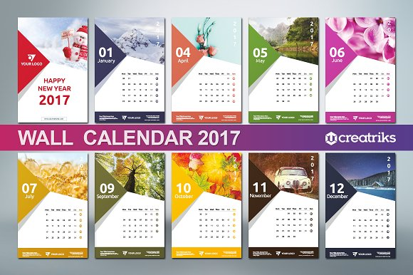 Wall Calendar 2017 v009 Presentation Templates on Creative Market – Calendar Flyer Template