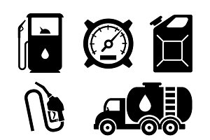 Gas station vector icons set