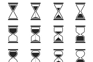 Sandglass and hourglass vector icons