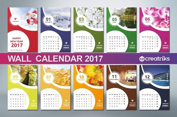 Calendar Typography Gear : Wall calendar v presentation templates