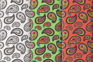 3 vector paisley seamless pattern.