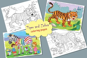 Tiger and Zebra. Coloring pages