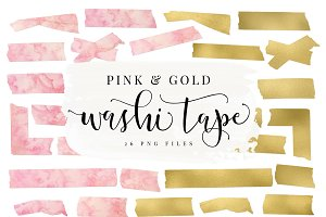 Pink Watercolor & Gold Washi Tape
