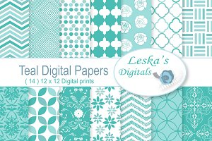 Teal Digital Paper Patterns