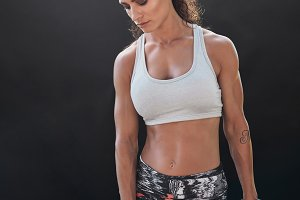 Bodybuilding model exercising