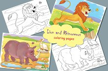 Lion and Rhino. Coloring pages