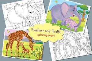Elephant and Giraffe. Coloring pages
