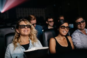 Group of friends watching 3d movie