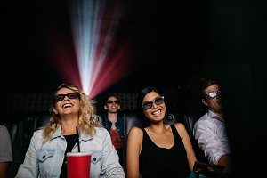 Young women watching 3d movie