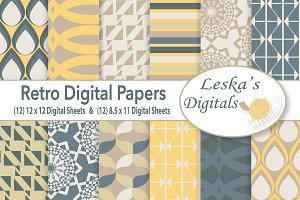 Retro Digital Paper Patterns