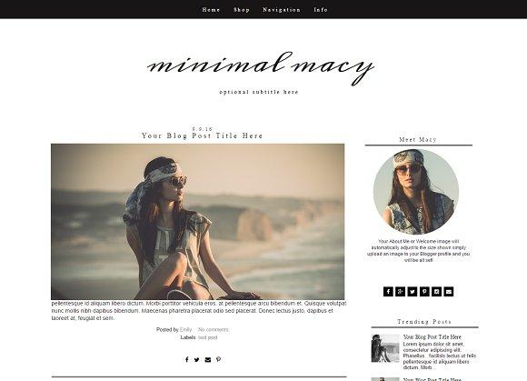 Blogger Template Black White Templates Creative Market