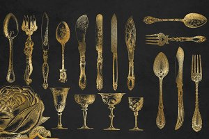 Vintage Gold Cutlery Clipart