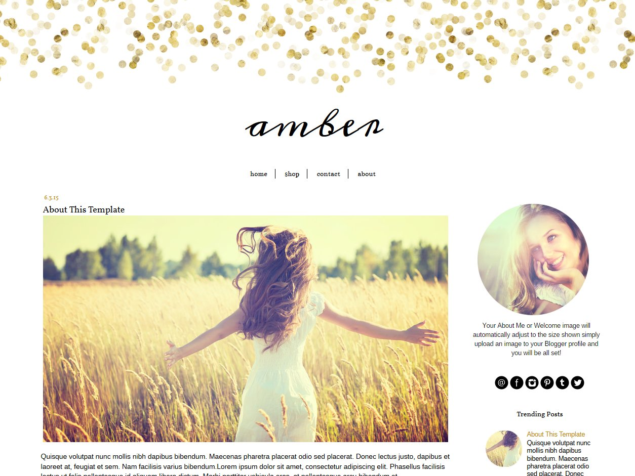 Blogger Template Glitter Gold Amber Templates Creative Market