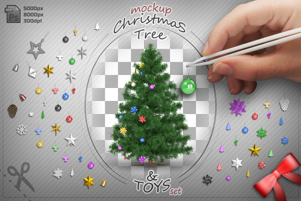 Christmas Tree and Toys mock-up set