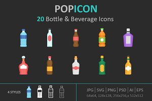 Bottle & Beverage Icon set
