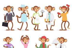 Monkey like people vector characters