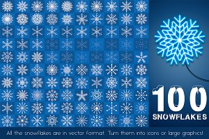 Snowflakes 100 vector illustrations