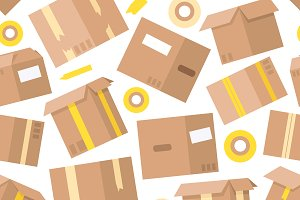 Carrying boxes seamless pattern