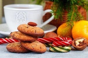 cookies with chocolate and nuts