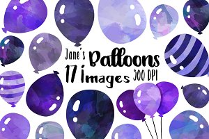 Watercolor Purple Balloons Clipart