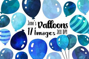 Blue Watercolor Balloons Clipart