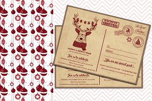 Christmas Invitation Vintage Deer