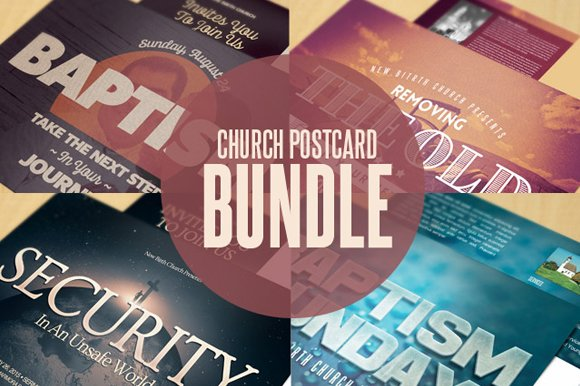 church postcard templates bundle invitation templates creative