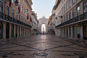 Rua Augusta Street in Lisbon at Dawn