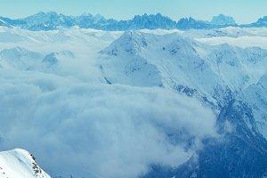 Dolomites Alps winter view.