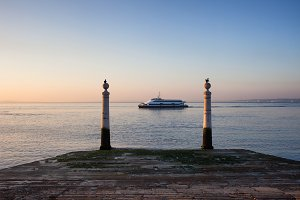 Columns Pier at Sunrise in Lisbon