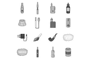Vape icons set