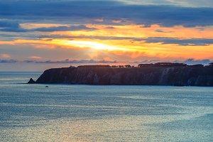Atlantic sunset coastline.