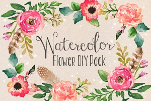 Watercolor Flower DIY Pack Vol.1