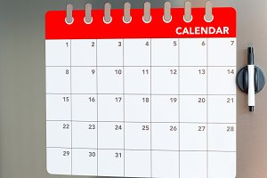 Monthly calendar in the fridge