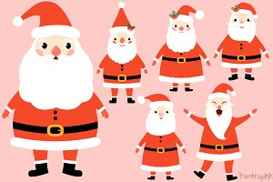 Cute Santa Claus clipart set