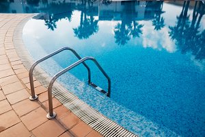 Metal staircase in a pool