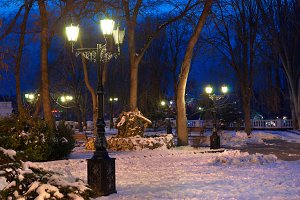 City night scene with lights